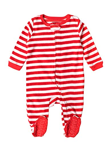 Leveret Kids Fleece Baby Boys Girls Footed Pajamas Sleeper Christmas Pjs (Red & White Stripes,Size 6-12 Months)