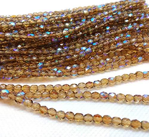 Preciosa, kristallen glazen kralen, streng van Boheems, geslepen glas, 4 mm, gepolijst, facetgeslepen, rond, CZ Tsjechische printkralen, kleurkeuze 4mm Light Colorado Topaz Ab
