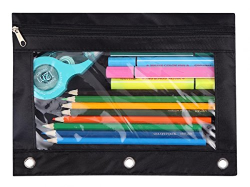 WODISON 3-Ring Pen Pencil Pouch with Clear Window Stationery Bag Binder Case Classroom Organizers Black
