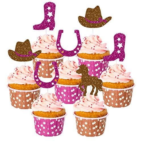 Paquete de 24 decoraciones de pastel de vaquera con bota, adornos de pastel de caballo para decoraciones de fiesta de vaquera occidental o suministros para baby shower, 1er 2do 3er cumpleaños