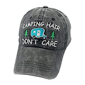 Waldeal Women's Embroidered Adjustable Camping Hair Don't Care Dad Hat Cap Camper Gift