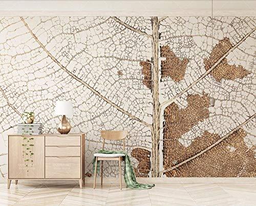 3D muurschildering behang, groot formaat moderne minimalistische beige bruin shabby chic blad aders foto's 5D afdrukken zijde doek muur kunst decoratie voor woonkamer slaapkamer keuken plafond kantoor 420cm(W) x 260cm(H) (13.78 x 8.53) ft Beige