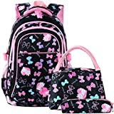 vbiger cartable fille primaire 3 en 1 sac à dos enfant scolaire en nylon imperméable (noir1)