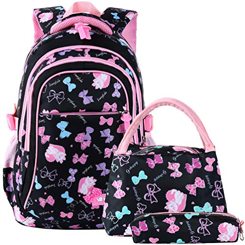 VBG VBIGER School Bags School Backpack Polka Dot 3pcs Kids Book Bag Lunch Bags Purse Girls Teen (Black-pink)