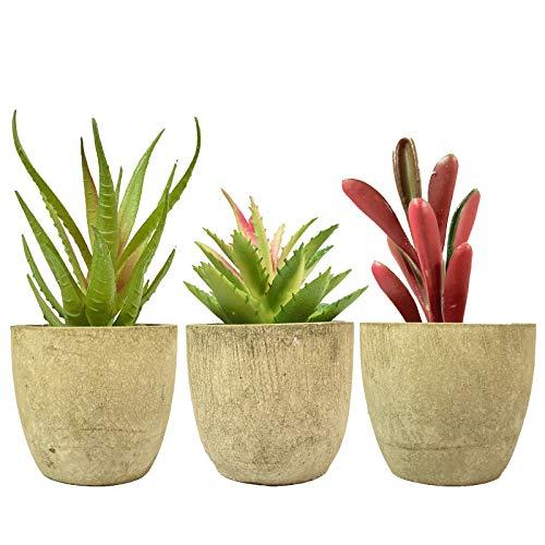 3 plantas suculentas artificiales de tamaño pequeño, suculentas, para escritorio, hogar, oficina con macetas grises