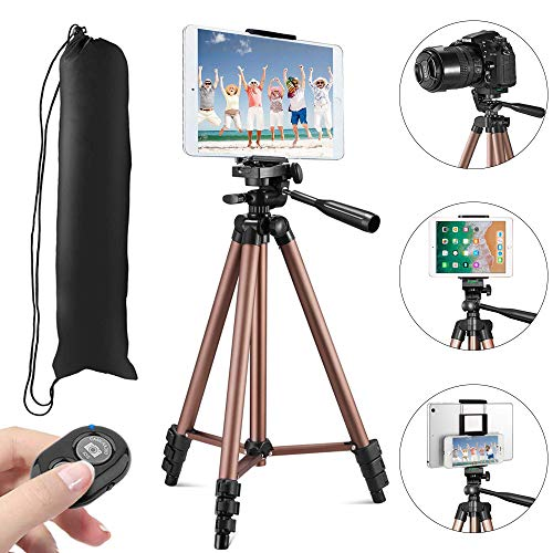 """MOREVON Tripod for ipad, [2020 Upgrade] 53"""" Tripod for iPhone Camera Tablet, Lightweight Aluminum Tripod Stand with Remote Shutter, Universal 2 in 1 Phone/Tablet Holder, for Smartphone, Tablet, Camera"""