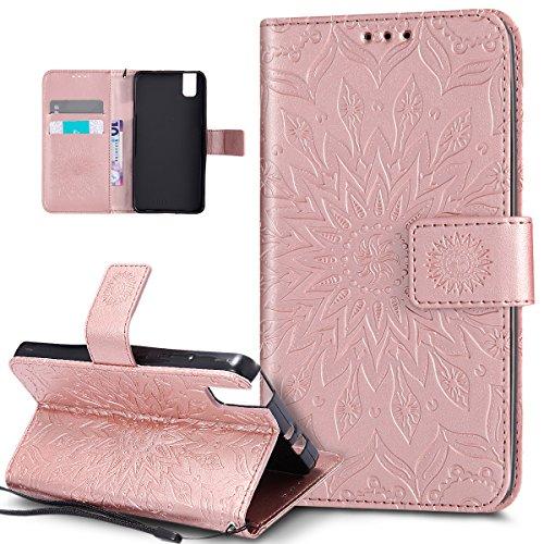 Kompatibel mit Huawei Honor 7i Hülle,Huawei Honor 7i Schutzhülle,Prägung Mandala Blumen Sonnenblume PU Lederhülle Flip Hülle Cover Ständer Wallet Tasche Hülle Schutzhülle für Huawei Honor 7i,Rose Gold