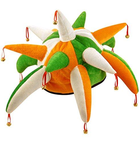 Henbrandt - Chapeau Déguisement Carnaval avec Petites Cloches - Farceur - St Patrick - Vert / Blanc / Orange [Misc.]