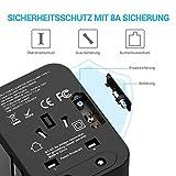 Reiseadapter MustWin Universal Reisestecker 5,6A Travel Adapter Weltweit mit 4 USB +Type C +AC Steckdosen +Doppelsicherung +Tasche für Internationale 224+ Länder Europa UK USA Australien China USW - 6