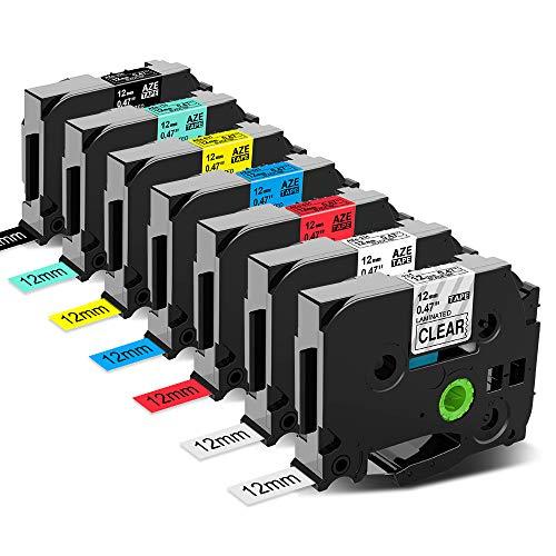 Anycolor kompatible Schriftband für Brother P-Touch TZe 12mm 0,47 Zoll 7 Farben TZ-231 TZ-131 TZ-431 TZ-531 TZ-631 TZ-731 TZ-335 für P-Touch Etikettendrucker PT-1000 PT-D400 PT- H110 PT-H105