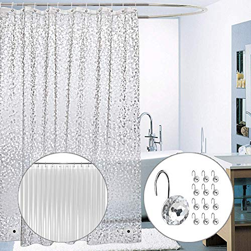 Pebble Shower Curtain Set with Rhinestone Diamond Hooks and Clear Liner 3 PCS- Premium Quality 72x72 Non-PVC Plastic Sparkle Curtain - Decorative Metallic Design with No Odor for Bathtub Grey/Silver