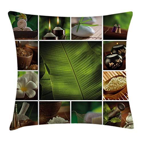 Funda de cojín Funda de Cojine Spa Collage de Velas Piedras Sales de hierbas Toallas Plantas botánicas Throw Cojín 45 X 45CM