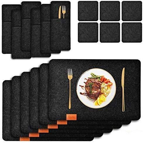 Queta 18 Stück Platzset Filz, 6 edle Platzsets, 6 Tassenmatten, 6 Messer- und Gabelabdeckungen aus Filz, 45x30x3cm Abwaschbares Tischset, Platzdeckchen