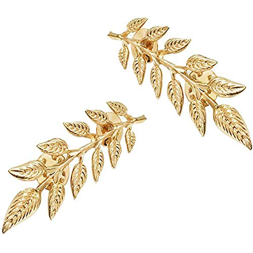 MINGHUA Gentlemen Suit Brooches Simple Elegant Double Leaf Collar Pin Brooch Gold Silver Plant Brooch (Gold)