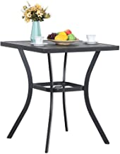 """31"""" Metal Patio Height Bar Table Bistro Square Dining Table Outdoor Furniture Steel Frame All Weather for Outdoor, with Umbrella Hole for Outdoor Garden- 36"""