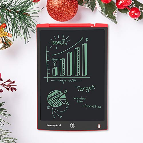 Howeasy Board LCD Writing Tablet, 12 Inch Learning Educational Toys Electronic Drawing and Writing Board for Kids & Adults, Handwriting Paper Doodle Pad for School and Office (Red)