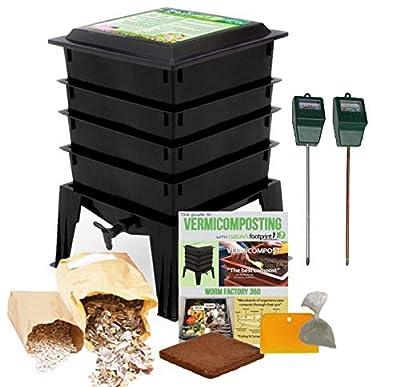 Worm Factory 360 Composting Bin + Moisture and pH Testing Meter Worm Farm Kit