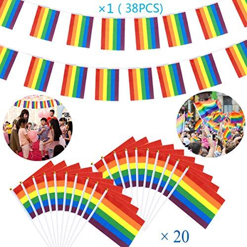 WEONE Paquete de 21 Bandera de Arcoiris,1pc 10M Bandera LGBT