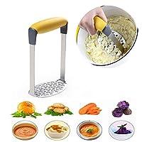 果物、野菜、離乳食用のお手入れが簡単な滑り止めハンドル付きポテトマッシャーを備えたステンレス製マッシャーライス丈夫で耐久性のある野菜マッシャー
