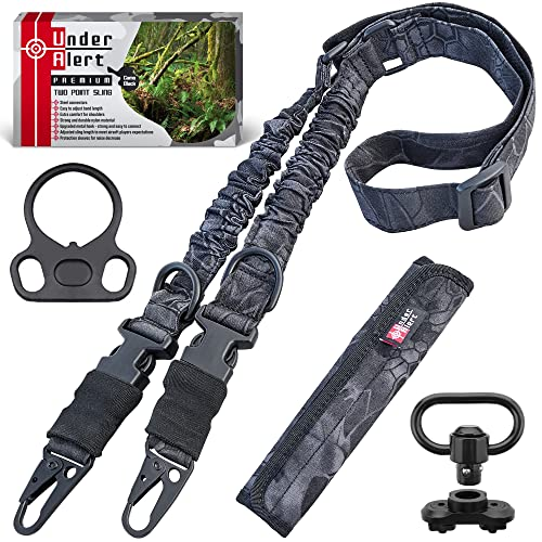 UnderAlert Two Point Sling Rifle Strap with Shoulder Pad and Rifle Sling Mount. Adjustable Gun Sling. Shotgun Sling. 2 Point Sling with Gift Box.
