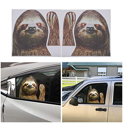 ATMOMO Sloth Car Side Window Decal Vinyl Sticker Perforated Funny Car Window Decal Left and Right Side Window Cling, 12.99'' x 11.42''