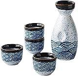 genral Juego de ollas de Sake de 5 Piezas, Juego de Vino de cerámica, Juego de ollas de Sake de Estilo japonés, Serie Sea Ripple, Material cerámico, 4 Tazas de Sake, 1 Botella de Sake