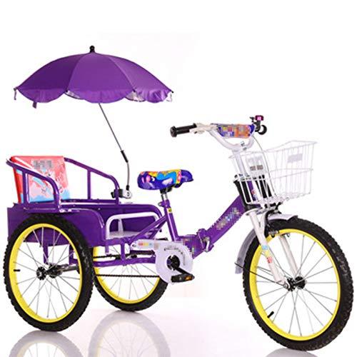TWW Bicicleta Triciclo para Niños con Cubo 2-10 Años Gemelos Bebé Plegable Niños con Personas Triciclo Triciclo para Niños,Purple 14 Inches