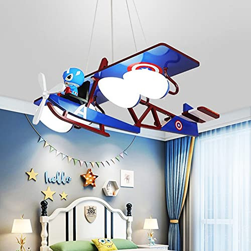 Luces de Techo Led para Dormitorio de NiñOs, Lampara Ventilador Techo Infantil, Dormitorio Moderno con Forma de AvióN, Luz Regulable PequeñA para Sala de Estar, Dormitorio, HabitacióN de NiñOs,A