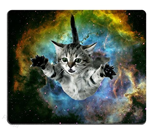 Pingpi Mouse Pad Custom Design,Galaxy Fly Cat Mouse Pad Game Office Thicker Mouse Pad Decorated Mouse Pad