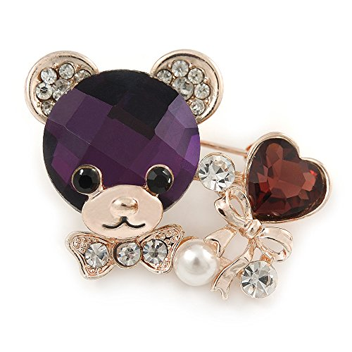 Avalaya Purple/Clear Crystal Bear with Heart Brooch in Gold Plating - 40mm W