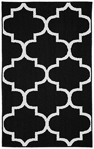 Garland Rug Large Quatrefoil Area Rug, 30 x 46', Black/White