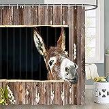 Esel-Duschvorhang für Badezimmer, Tierliebhaber, niedlicher lustiger in der Badewanne, 177,8 x cm, Polyester-Stoff, fantastische Dekoration, Badvorhänge, Haken im Lieferumfang enthalten