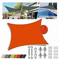 シェード帆 日除け 防水 Orange 長方形 5x5m クールシェード 遮光ネット 雨よけ カスタマイズ可能なサイズ ソラリウムテラスに最適 シェード セイル 取り付け金具
