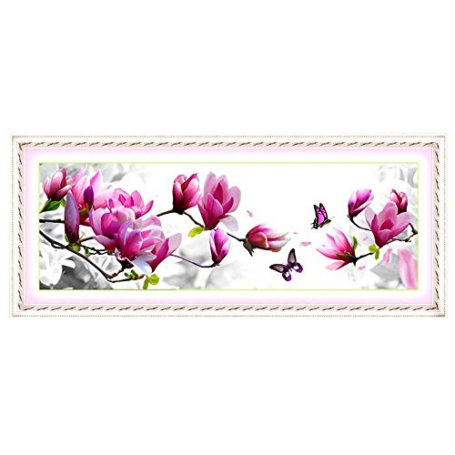 SODIAL(R) DIY Handmade Ricamo Punto Croce Set Ricamo Kit Elegante Modello Rosa Magnolia Progettazione 3D Cross-Stitching 124 * 48 Centimetri Home Decoration