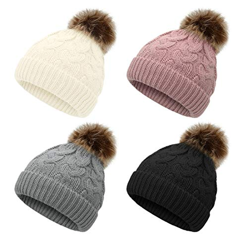 Durio Toddler Winter Hat Knit Toddler Hats for Boys Girls Pompom Toddler Boy Hat Baby Beanie I Ivory White & Gray & Pink & Black