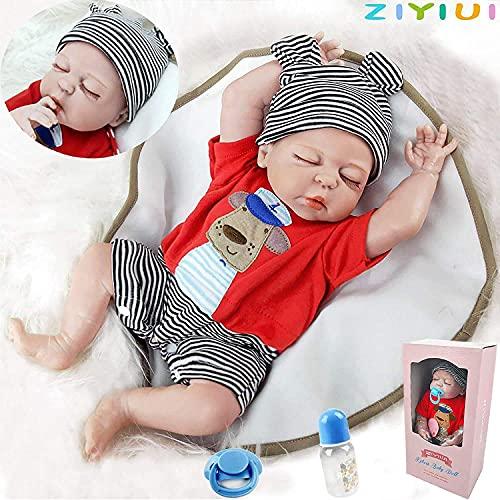 ZIYIUI 20 Zoll 50cm Lebensecht Reborn Baby Puppe Weiches Silikon Junge Mädchen Spielzeug Weihnachts Geschenk magnetschnuller für Reborn Babys Spielzeug getestet von Safe ASTM F963 und EN71