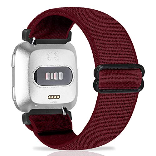 ShuYo Adjustable Elastic Nylon Watch Band Compatible with Fitbit Versa 2 / Versa / Versa Lite, 23mm Smartwatch Stretchy Bands Women Men Sport Replacement Loop Band Bracelet Soft Wristband(Wine)