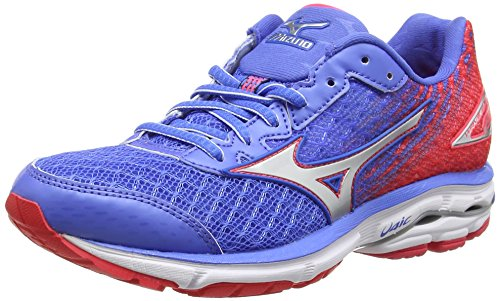Mizuno Wave Rider 19, Scarpe da Corsa da Donna, Colore Rosa (Fuchsia Purple/Silver/Royal Purple), Taglia 4 UK (36 1/2 EU)