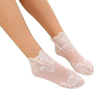 Yinew 3 paia di calze alla caviglia in pizzo trasparente elastico traspirante estate calze per donna bianco