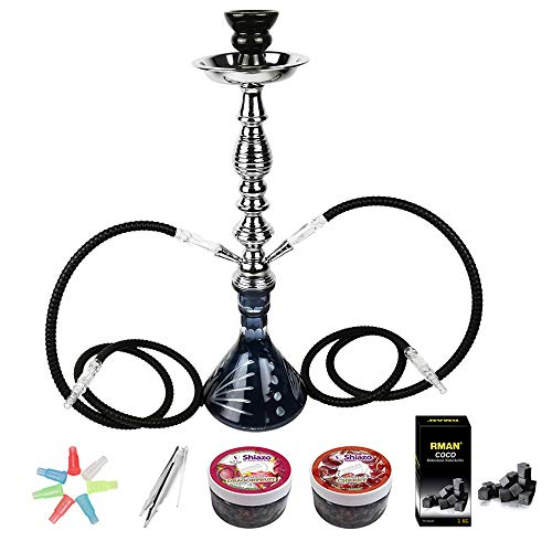 RMAN® Wasserpfeife Shisha Set 2 Schläuchen Hookah inkl.1KG Naturkohle Kokosnuss Shisha kohle, Zigarettenhalter, Shiza Dampfsteine und Zange