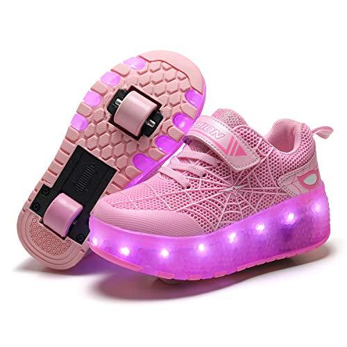 Unisex Kinder LED Licht USB Wiederaufladbar Skateboardschuhe mit Doppelrad Rollen,Drucktaste Einstellbare Rollerblades Skates, Outdoor Sport Fitnessschuhe Gymnastik Running Sneaker für Jungen Mädchen