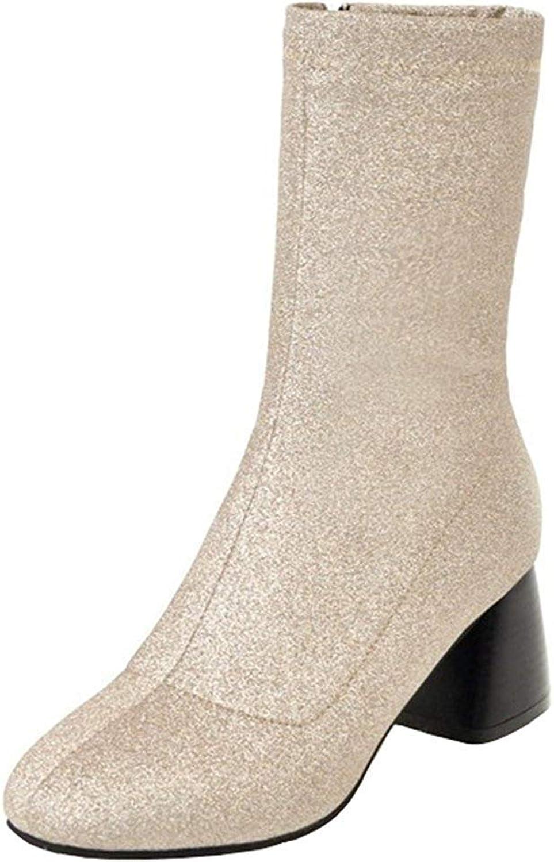 Ghssheh Women's Trendy Sequins Splicing Block Medium Heel Bridals shoes Round Toe Side Zipper Mid Calf Boots gold 4 M US
