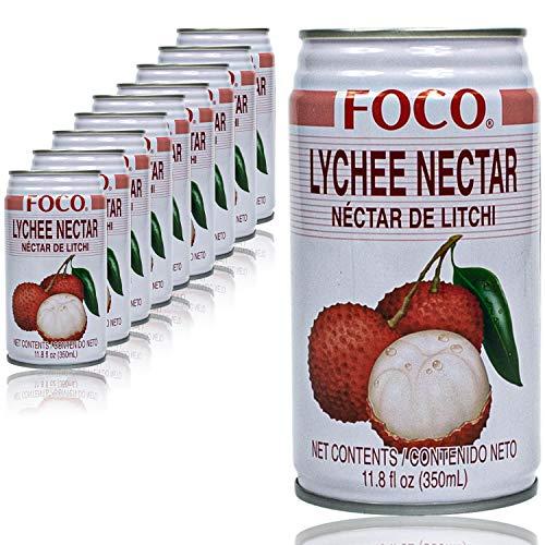 Foco - 10er Pack Premium Lychee Drink in 350 ml Dose - Litschisaft (Nektar) - Original Litschi Saft aus Thailand