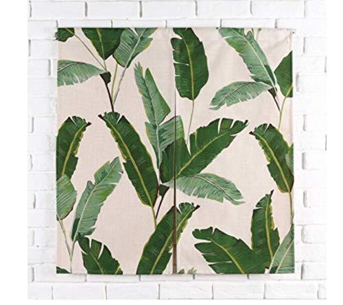Nologo Limonero Planta Verde Tropical Hoja de plátano Cortina de Cocina Corta Cortinas de Lino Cortas Puerta Naranja Verde Fruta Decorativa Adhesive curtain150*90CM.(H+W-AB