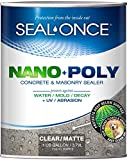 SEAL-ONCE SO7910 Nano+Poly Concrete & Masonry Penetrating Sealer & Waterproofer, Ultra-Low VOC, Water-Based with Polyurethane-Driveways, Patios & Brick (1 Gallon), Clear