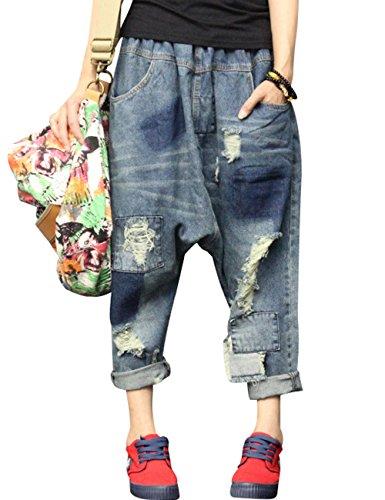 Youlee Damen Elastische Taille Zerstört Denim Jeans Haremshose , Einheitsgröße, Style 2