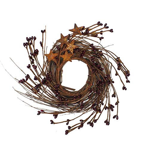 CVHOMEDECO. Primitives Rustic Pip Berries and Twig with Rusty Barn Stars Wreath, 7 Inch, Burgundy