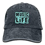 lijied DMusic is Life Adults Adjustable Cowboy Cap Denim Hat for Outdoor