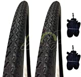 Ecovelò EBA26NXD 2 COPERTONI Nero + 2 CAMERE d'Aria per Bici Bicicletta City Bike 26 x 1 3/8 (37-590)