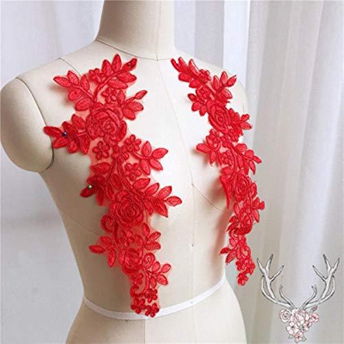 Qingsb naaien kant stoffen 2 paar 14 * 35cm kleuren ganza borduurwerk bloem grote kant applique voor trouwjurk bruidsjurk, rood